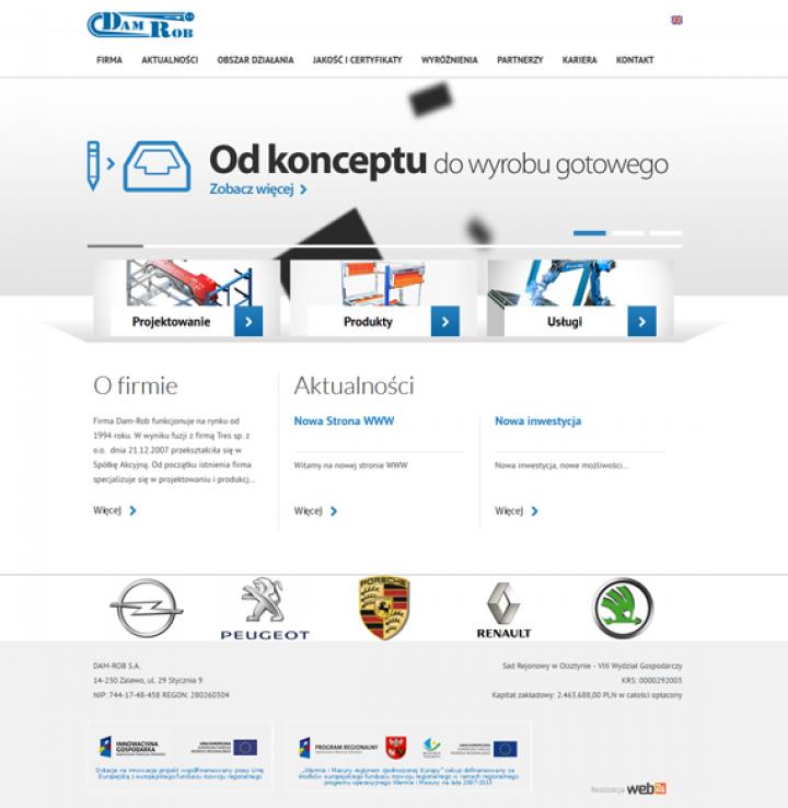 dam-rob.com.pl – nowy wizerunek w Internecie, realizacja Web24